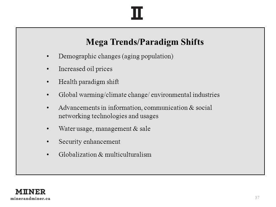 37 Mega Trends/Paradigm Shifts Demographic changes (aging population) Increased oil prices Health paradigm shift Global warming/climate change/ environmental industries Advancements in information, communication & social networking technologies and usages Water usage, management & sale Security enhancement Globalization & multiculturalism