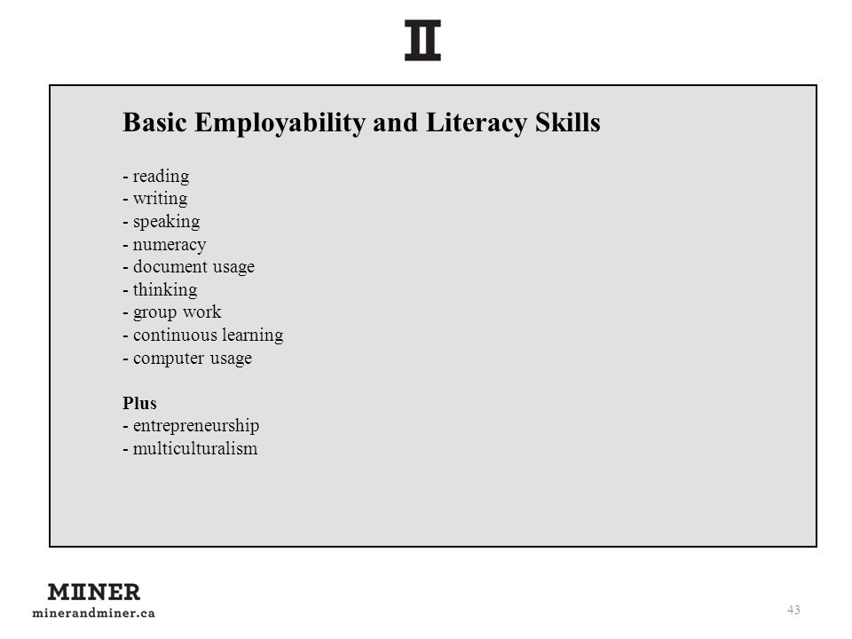 43 Basic Employability and Literacy Skills - reading - writing - speaking - numeracy - document usage - thinking - group work - continuous learning - computer usage Plus - entrepreneurship - multiculturalism