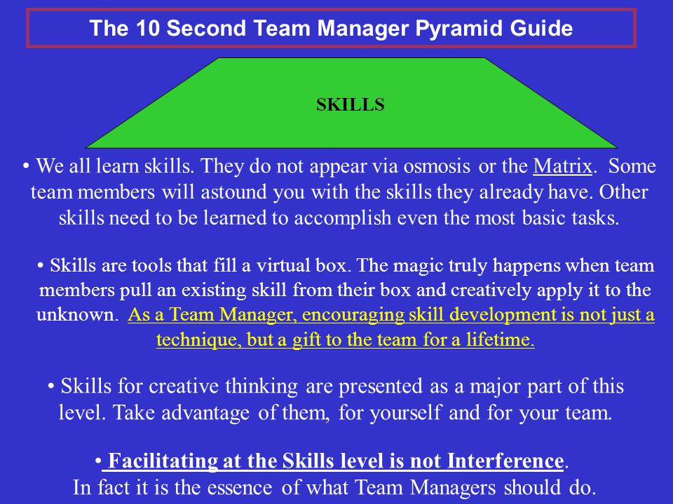 SKILLS Skills for creative thinking are presented as a major part of this level.