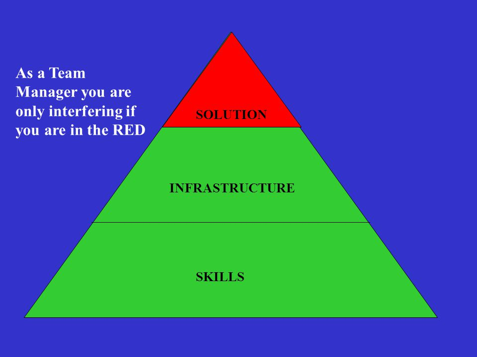 INFRASTRUCTURE SKILLS SOLUTION As a Team Manager you are only interfering if you are in the RED