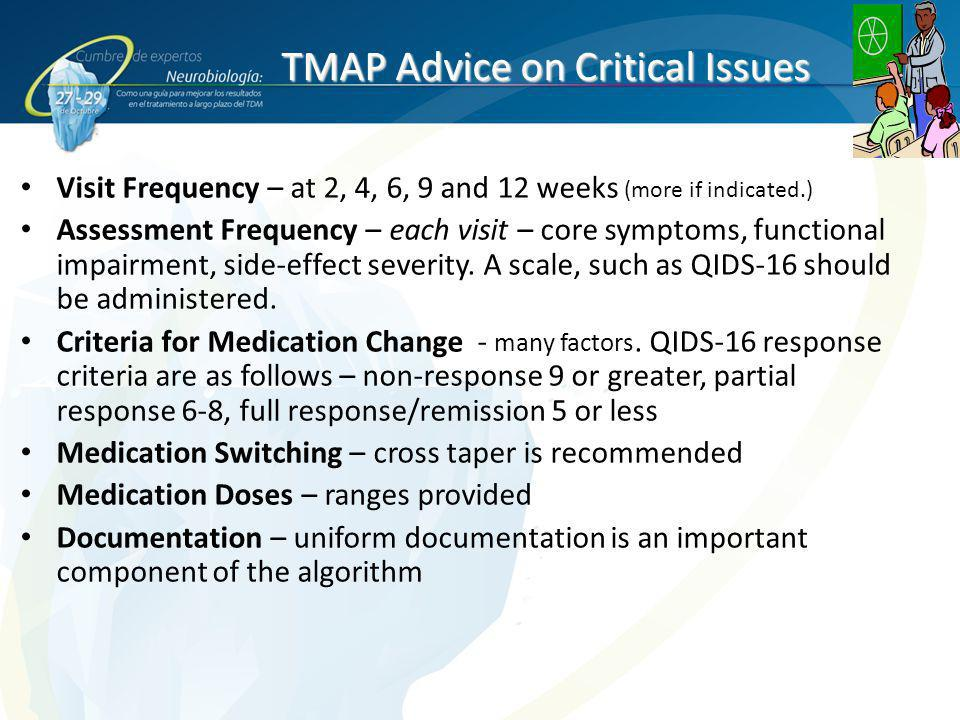 TMAP Advice on Critical Issues Visit Frequency – at 2, 4, 6, 9 and 12 weeks (more if indicated.) Assessment Frequency – each visit – core symptoms, fu