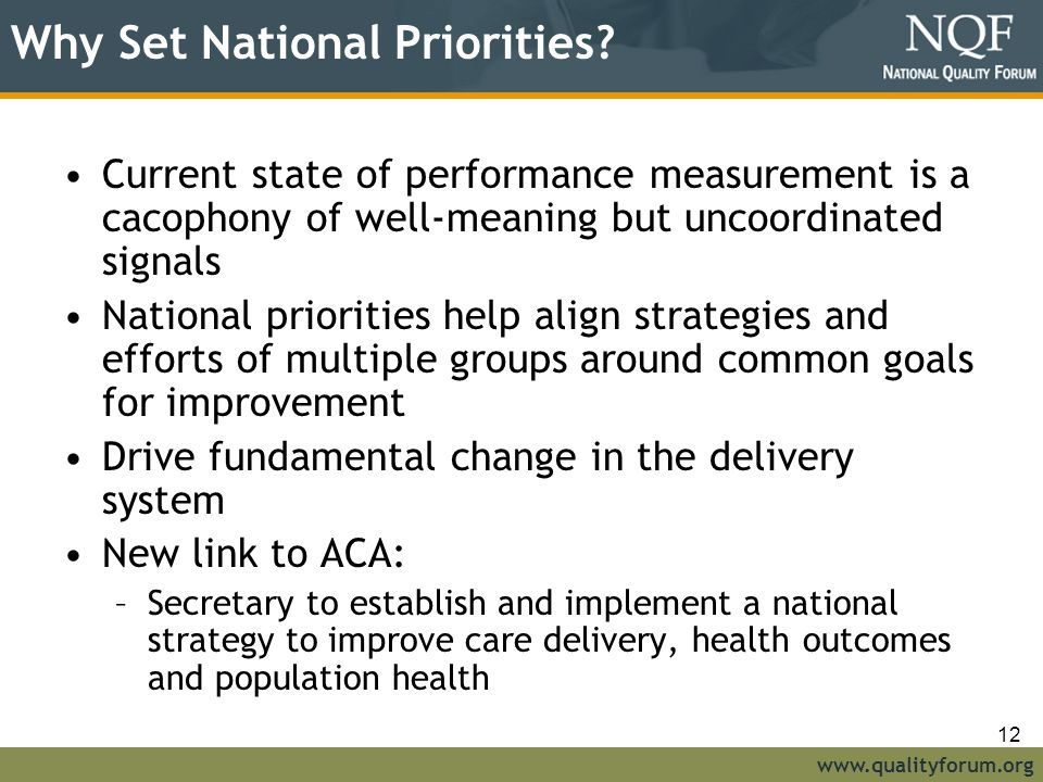 www.qualityforum.org Why Set National Priorities.