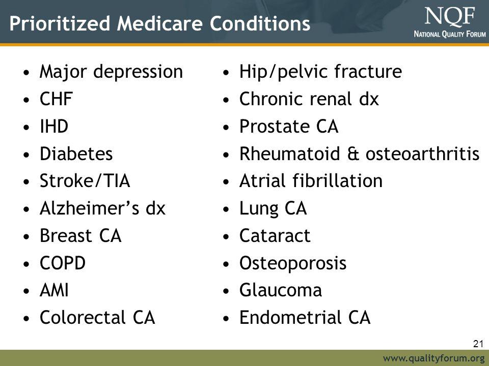 www.qualityforum.org Prioritized Medicare Conditions Major depression CHF IHD Diabetes Stroke/TIA Alzheimer's dx Breast CA COPD AMI Colorectal CA Hip/pelvic fracture Chronic renal dx Prostate CA Rheumatoid & osteoarthritis Atrial fibrillation Lung CA Cataract Osteoporosis Glaucoma Endometrial CA 21