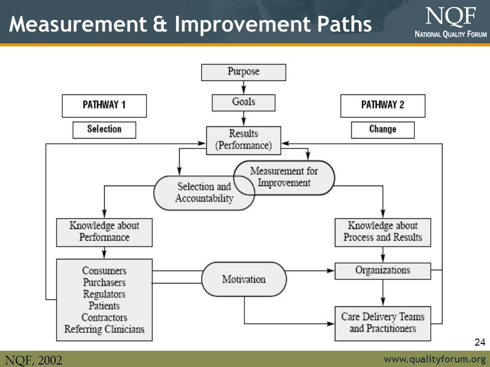 www.qualityforum.org 24 Measurement & Improvement Paths NQF, 2002