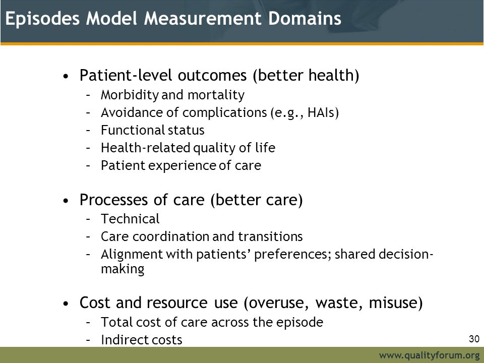 www.qualityforum.org Episodes Model Measurement Domains Patient-level outcomes (better health) –Morbidity and mortality –Avoidance of complications (e.g., HAIs) –Functional status –Health-related quality of life –Patient experience of care Processes of care (better care) –Technical –Care coordination and transitions –Alignment with patients' preferences; shared decision- making Cost and resource use (overuse, waste, misuse) –Total cost of care across the episode –Indirect costs 30