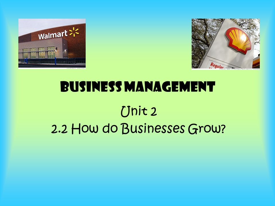 2 Unit 2.1 How do Business Grow.