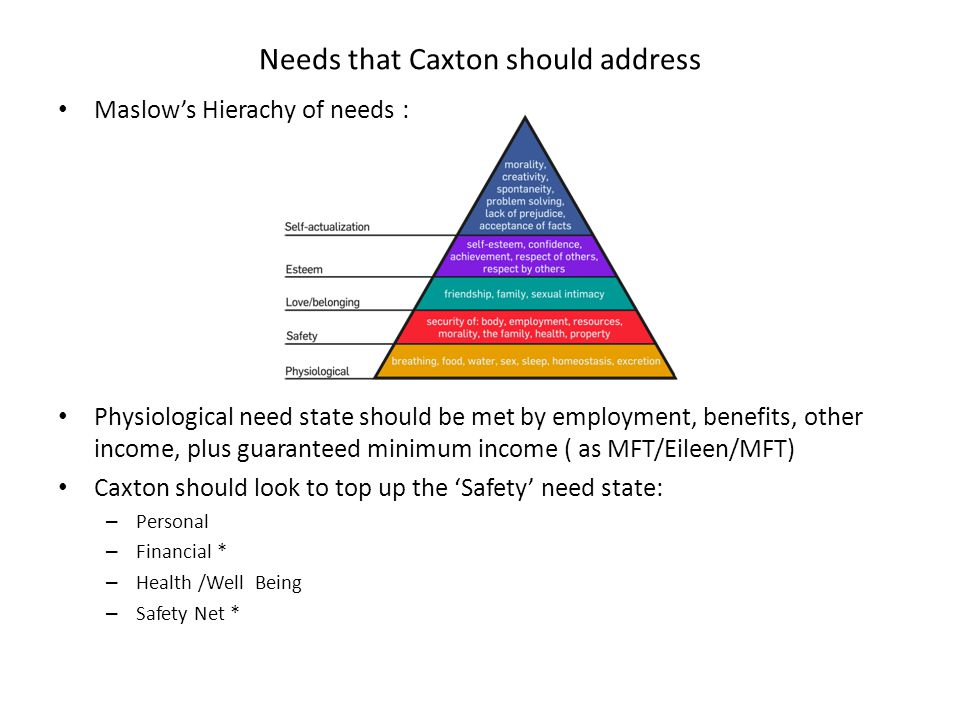 Maslow's Hierachy of needs : Physiological need state should be met by employment, benefits, other income, plus guaranteed minimum income ( as MFT/Eileen/MFT) Caxton should look to top up the 'Safety' need state: – Personal – Financial * – Health /Well Being – Safety Net * Needs that Caxton should address