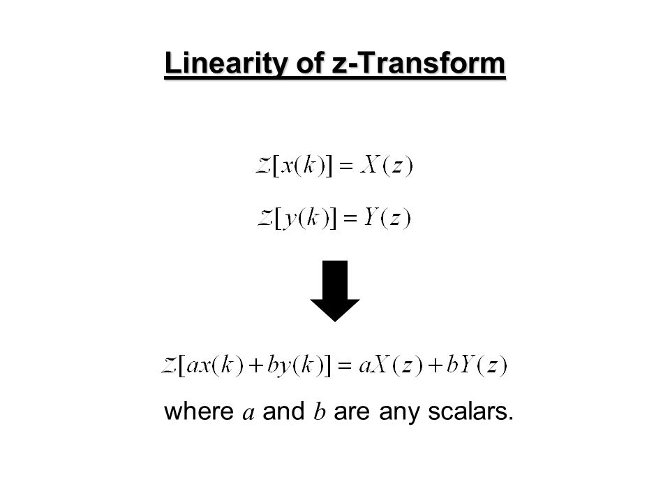 Example 6: a signal in z-domain Suppose a signal is given in the z-domain: for z -transform Inverse z -transform Since the z-transform is a linear map, Arranging the right hand side,