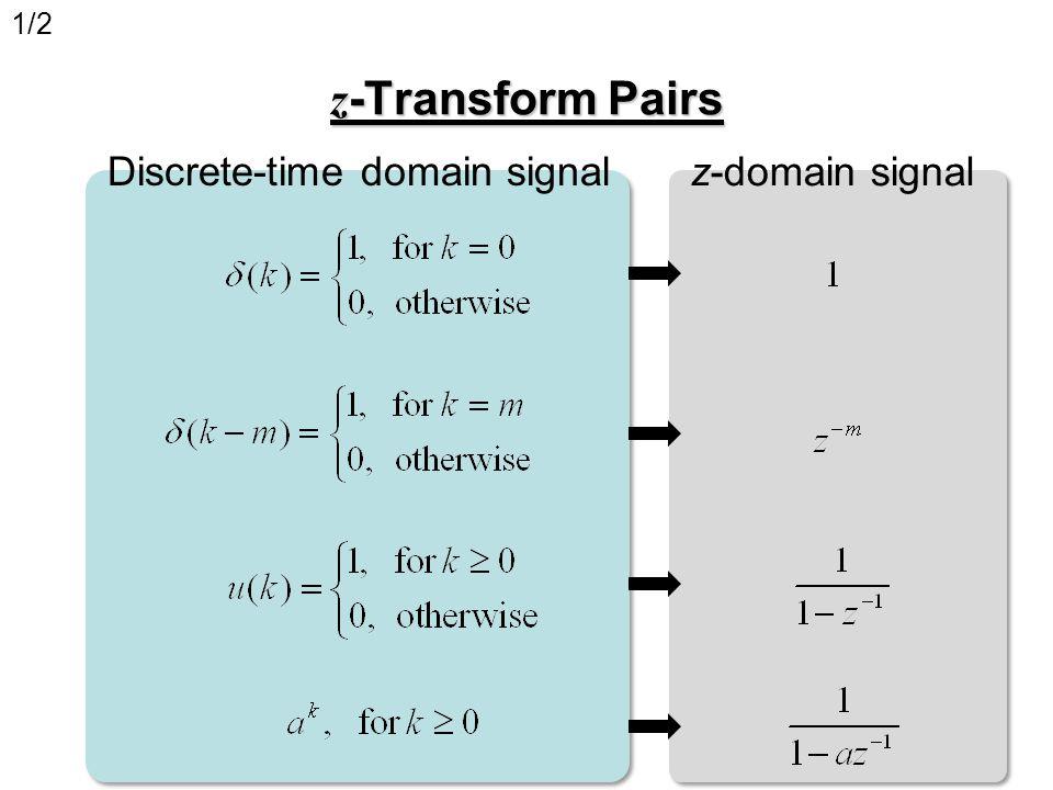 z -Transform Pairs Discrete-time domain signal z-domain signal 1/2
