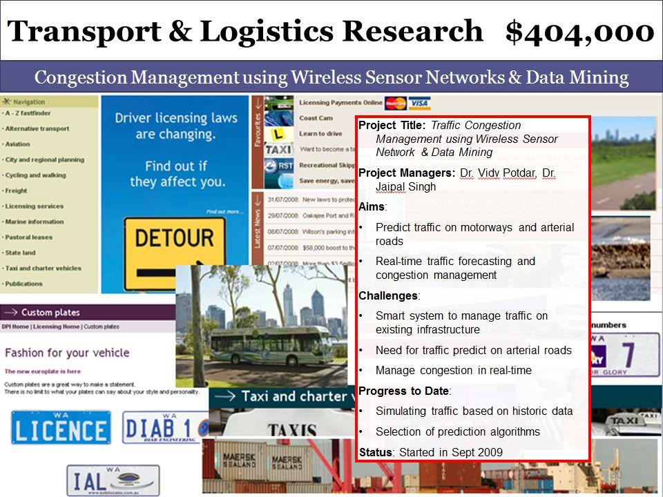Transport & Logistics Research $404,000 Congestion Management using Wireless Sensor Networks & Data Mining