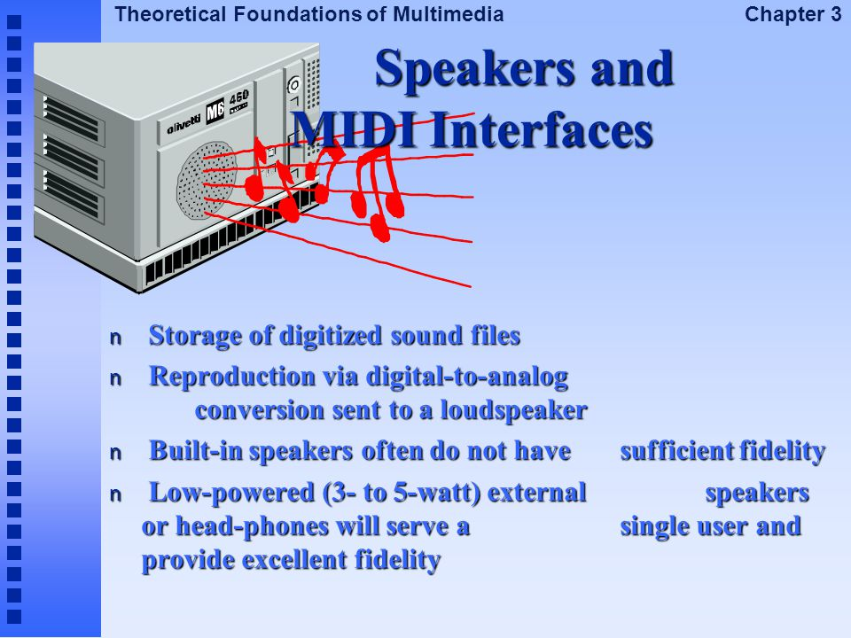 Theoretical Foundations of Multimedia Chapter 3 Speakers and MIDI Interfaces n Storage of digitized sound files n Reproduction via digital-to-analog c