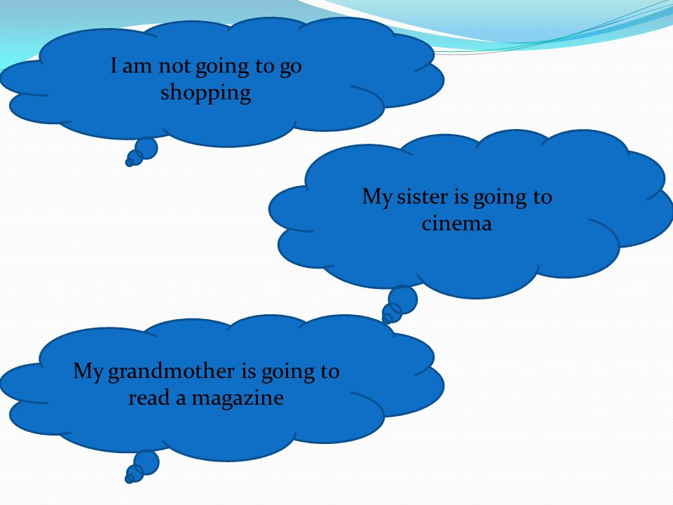 I am not going to go shopping My sister is going to cinema My grandmother is going to read a magazine
