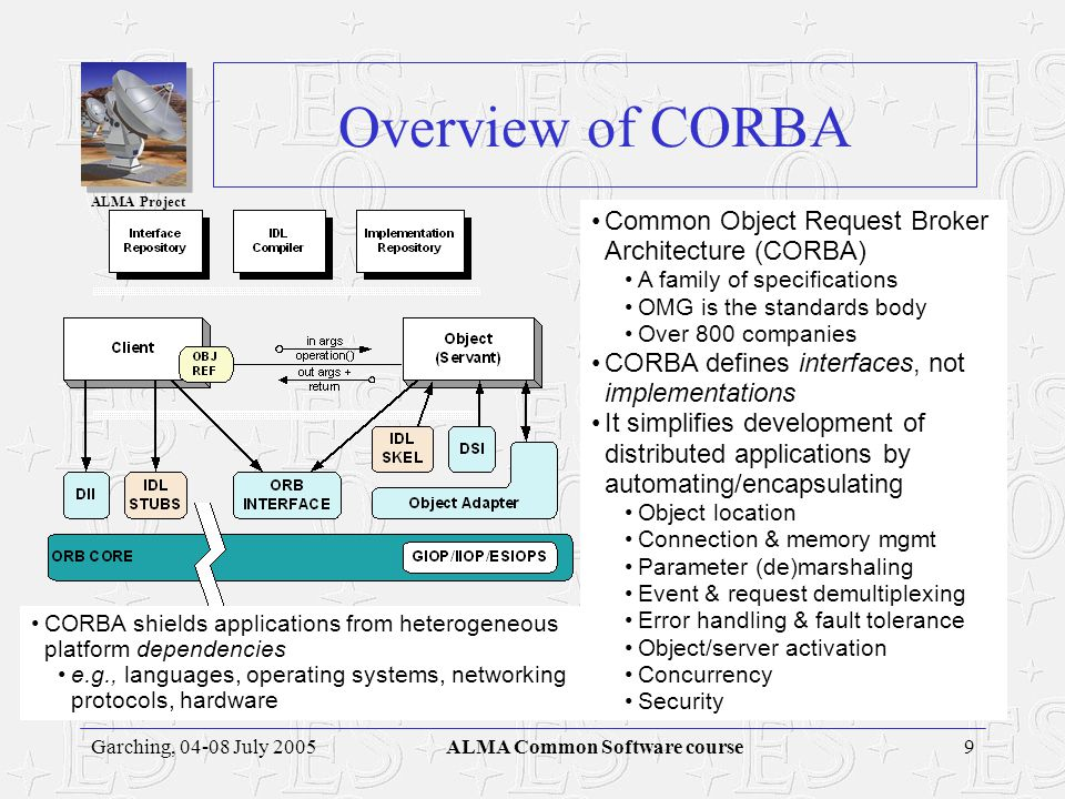 ALMA Project 9Garching, 04-08 July 2005ALMA Common Software course Overview of CORBA CORBA shields applications from heterogeneous platform dependencies e.g., languages, operating systems, networking protocols, hardware Common Object Request Broker Architecture (CORBA) A family of specifications OMG is the standards body Over 800 companies CORBA defines interfaces, not implementations It simplifies development of distributed applications by automating/encapsulating Object location Connection & memory mgmt Parameter (de)marshaling Event & request demultiplexing Error handling & fault tolerance Object/server activation Concurrency Security