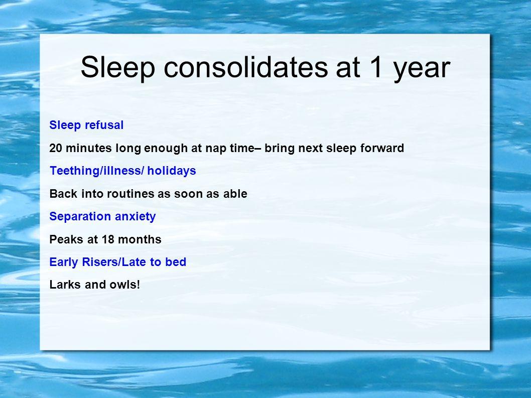 Sleep consolidates at 1 year Sleep refusal 20 minutes long enough at nap time– bring next sleep forward Teething/illness/ holidays Back into routines