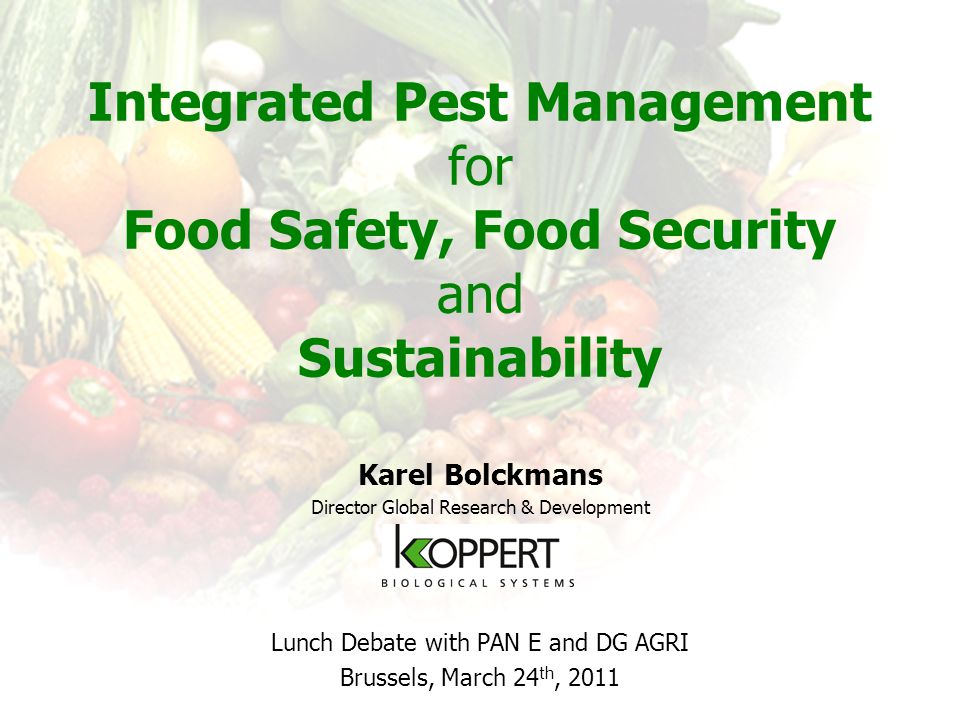 Integrated Pest Management A system that keeps harmfull organisms below the economic damage level based on ecologically, economically and toxicologically acceptable methods, taking into account the specific ecology of crops as well as harmfull organisms. (IOBC, 1973) strategy, systems approach uses integrated combination of different tactics to : –prevent (hygiëne, exclusion, …) and –manage (mechanical, biological, cultural, agronomic, …) populations of harmful organisms.