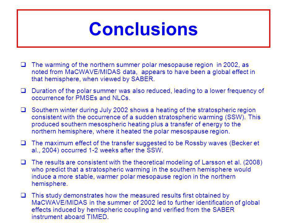 Conclusions  The warming of the northern summer polar mesopause region in 2002, as noted from MaCWAVE/MIDAS data, appears to have been a global effect in that hemisphere, when viewed by SABER.