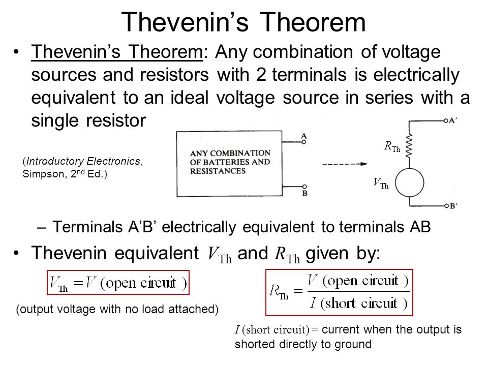Ideal Voltage and Current Sources Load resistance R L connected to terminals of a real current source: –Larger current is through the smaller resistan