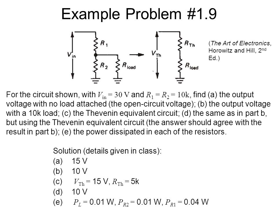 Thevenin's Theorem Thevenin's theorem applied to a voltage divider: Thevenin equivalent circuit: –Note that R Th = R 1  R 2 Imagine mentally shortin
