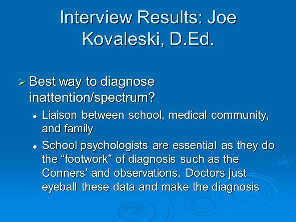Interview Results: Joe Kovaleski, D.Ed.  Best way to diagnose inattention/spectrum.
