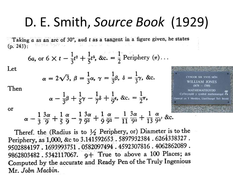 D. E. Smith, Source Book (1929)