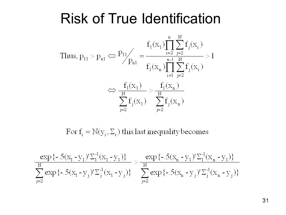 31 Risk of True Identification