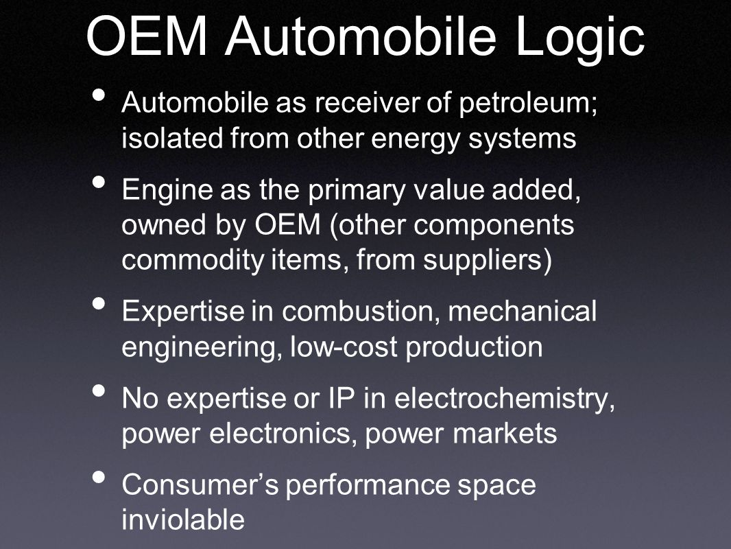 OEM Automobile Logic Automobile as receiver of petroleum; isolated from other energy systems Engine as the primary value added, owned by OEM (other components commodity items, from suppliers) Expertise in combustion, mechanical engineering, low-cost production No expertise or IP in electrochemistry, power electronics, power markets Consumer's performance space inviolable