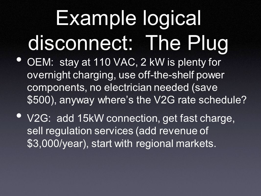 Example logical disconnect: The Plug OEM: stay at 110 VAC, 2 kW is plenty for overnight charging, use off-the-shelf power components, no electrician needed (save $500), anyway where's the V2G rate schedule.