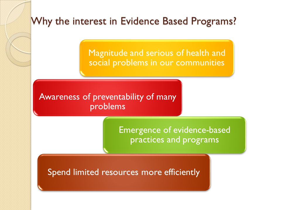 Why the interest in Evidence Based Programs? Magnitude and serious of health and social problems in our communities Awareness of preventability of man