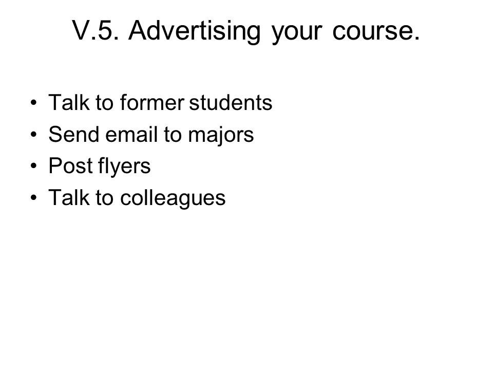 V.5.Advertising your course.