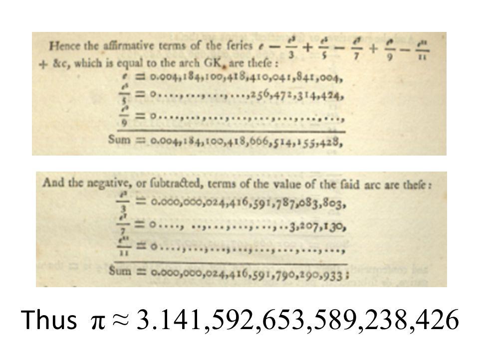 Thus π ≈ 3.141,592,653,589,238,426