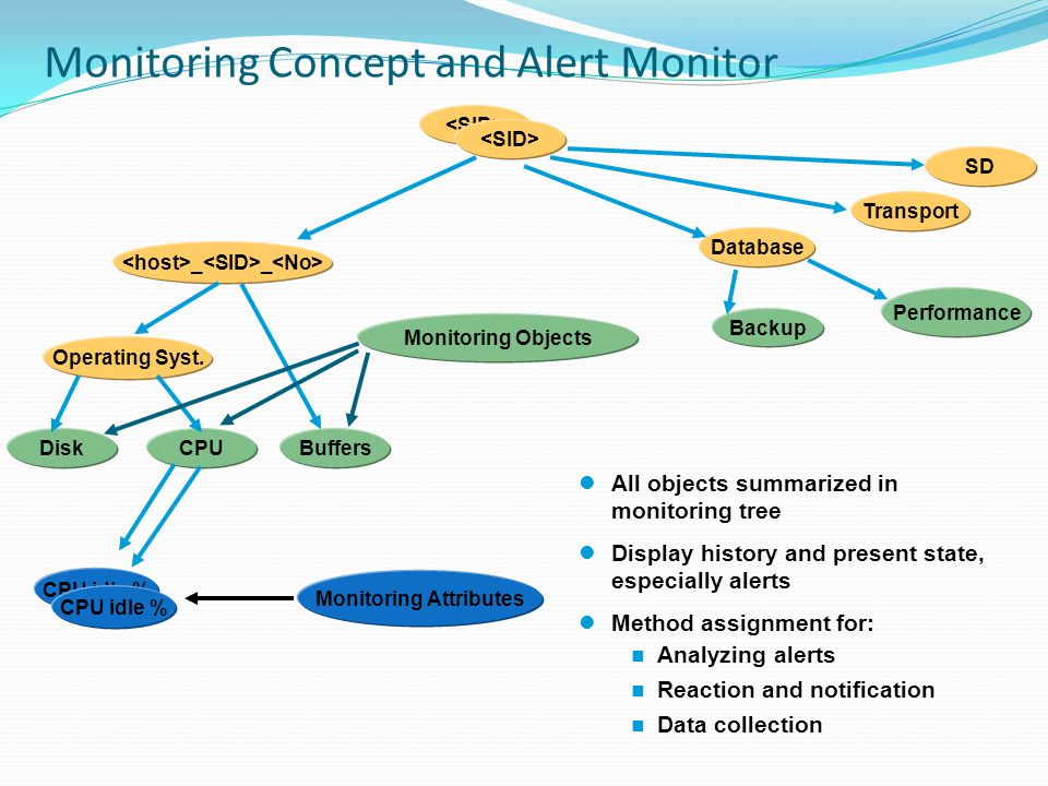 Monitoring Concept and Alert Monitor _ _ Operating Syst. BuffersCPUDisk Database Transport SD Backup Performance All objects summarized in monitoring