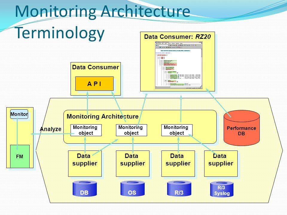Monitoring Architecture Terminology Monitoring Architecture Data supplier DB OSR/3 Monitoring object Monitoring object Monitoring object Data Consumer