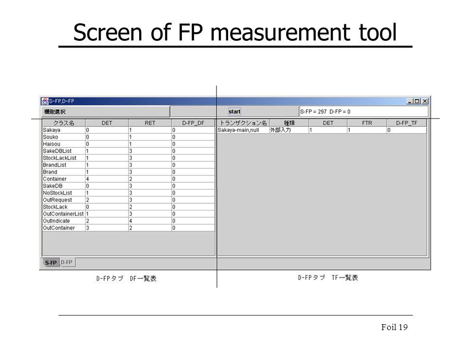 Foil 19 Screen of FP measurement tool