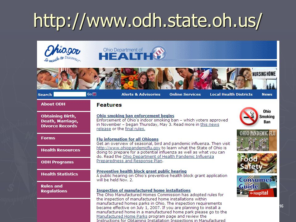 16 http://www.odh.state.oh.us/