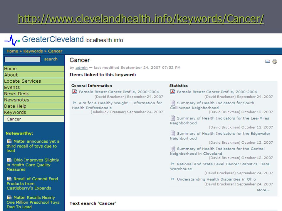 55 http://www.clevelandhealth.info/keywords/Cancer/