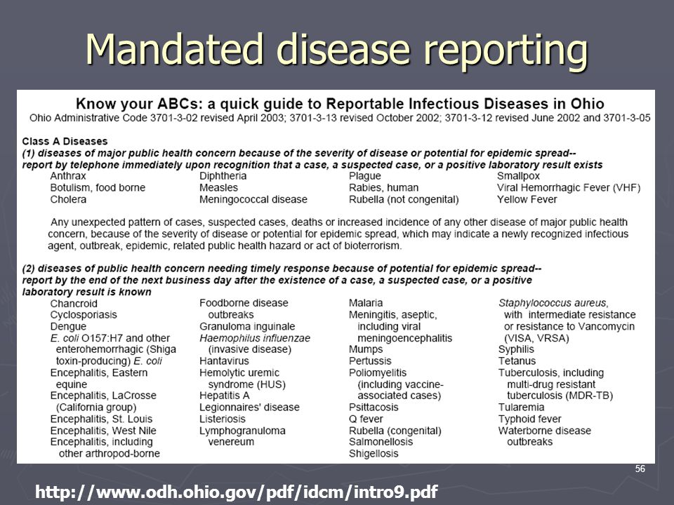 56 http://www.odh.ohio.gov/pdf/idcm/intro9.pdf Mandated disease reporting