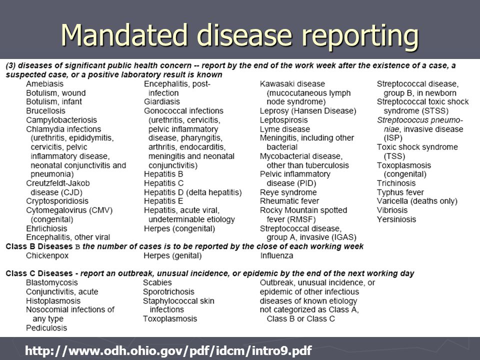 57 http://www.odh.ohio.gov/pdf/idcm/intro9.pdf Mandated disease reporting