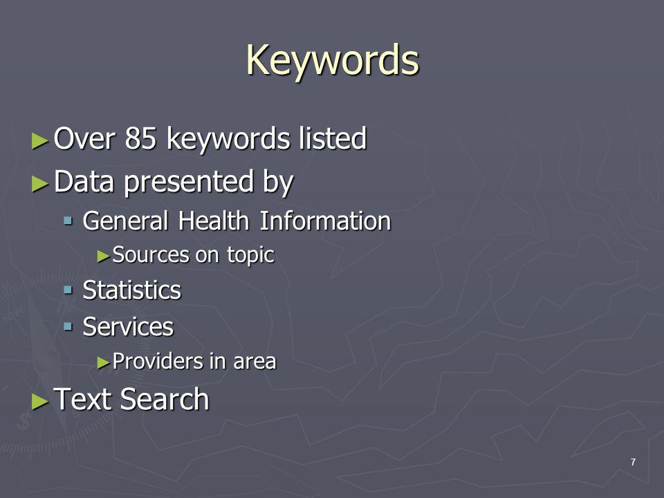 18 http://dwhouse.odh.ohio.gov/datawarehousev2.htm