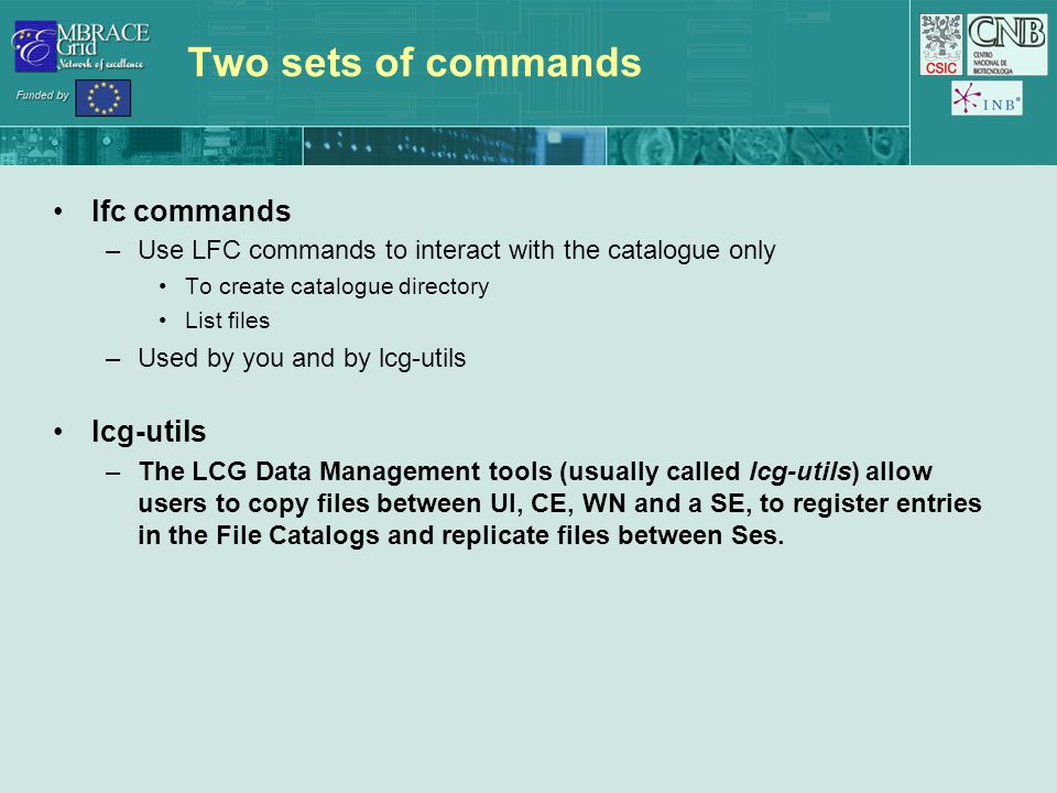 Two sets of commands lfc commands –Use LFC commands to interact with the catalogue only To create catalogue directory List files –Used by you and by l