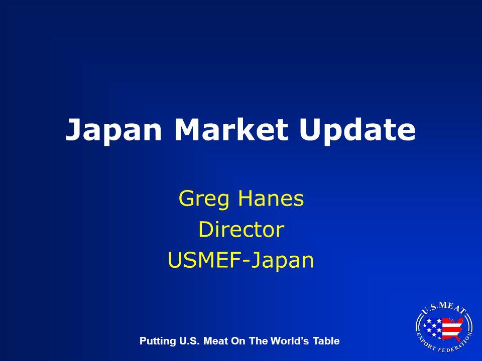 Putting U.S. Meat On The World's Table Japan Market Update Greg Hanes Director USMEF-Japan