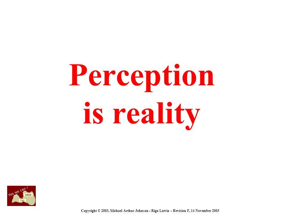 Copyright © 2003, Michael Arthur Johnson – Riga Latvia – Revision F, 14 November 2003 Perception is reality