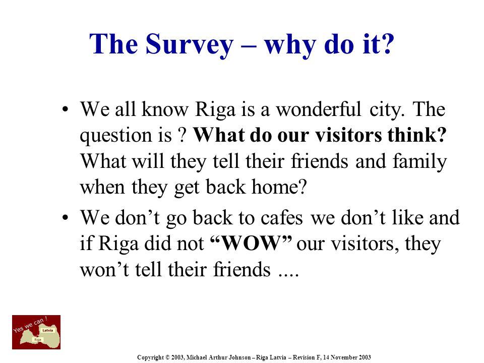 Copyright © 2003, Michael Arthur Johnson – Riga Latvia – Revision F, 14 November 2003 The Survey – why do it.