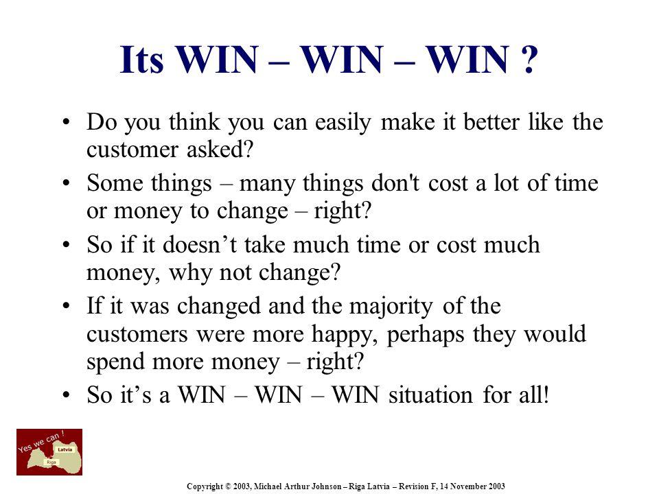 Copyright © 2003, Michael Arthur Johnson – Riga Latvia – Revision F, 14 November 2003 Its WIN – WIN – WIN .