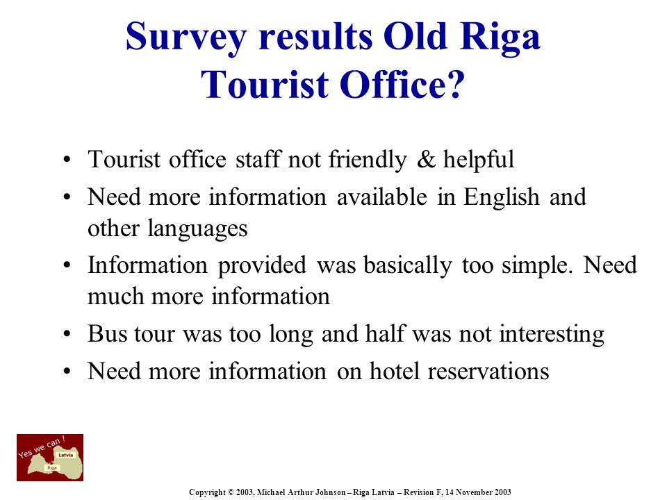 Copyright © 2003, Michael Arthur Johnson – Riga Latvia – Revision F, 14 November 2003 Survey results Old Riga Tourist Office.