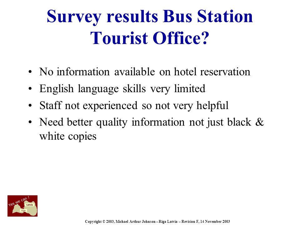 Copyright © 2003, Michael Arthur Johnson – Riga Latvia – Revision F, 14 November 2003 Survey results Bus Station Tourist Office.