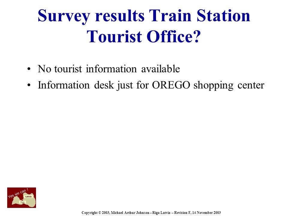 Copyright © 2003, Michael Arthur Johnson – Riga Latvia – Revision F, 14 November 2003 Survey results Train Station Tourist Office.