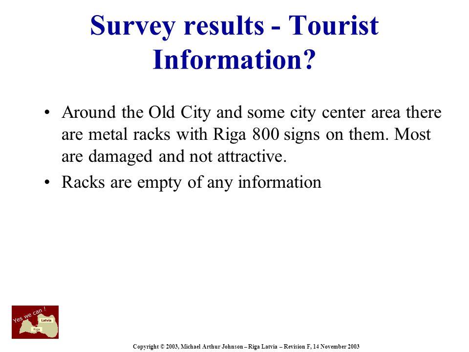 Copyright © 2003, Michael Arthur Johnson – Riga Latvia – Revision F, 14 November 2003 Survey results - Tourist Information.