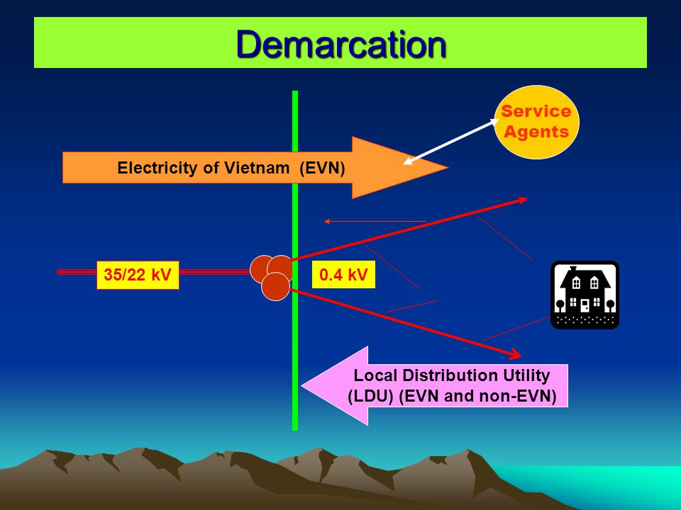 Demarcation Electricity of Vietnam (EVN) Local Distribution Utility (LDU) (EVN and non-EVN) 35/22 kV 0.4 kV Service Agents
