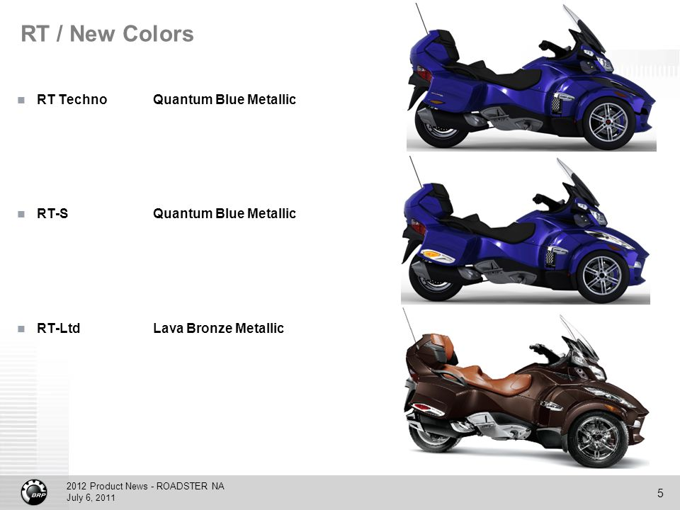 2012 Product News - ROADSTER NA July 6, 2011 5 RT / New Colors RT TechnoQuantum Blue Metallic RT-SQuantum Blue Metallic RT-LtdLava Bronze Metallic