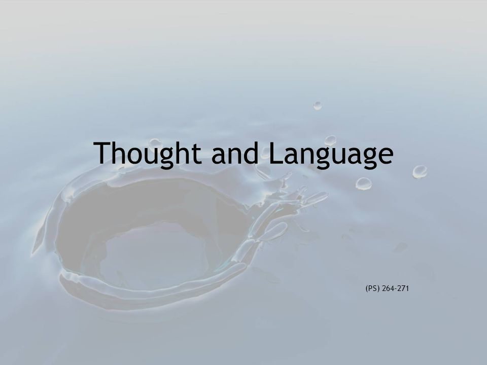 Thought and Language (PS) 264-271